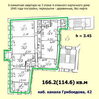 Шестикомнатная квартира 166 кв.м на канале Грибоедова (Адмиралтейский, МО-2, Сенной) продается. План квартиры