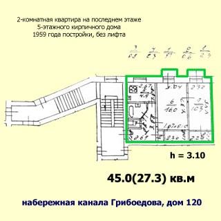 Двухкомнатная квартира 45 кв.м на канале Грибоедова (Адмиралтейский, МО-3) продается. План квартиры