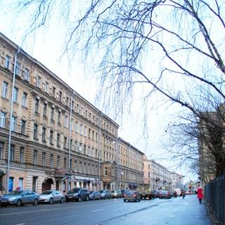 На фото: перспектива улицы, асфальтированная проезжая часть и широкий тротуар, слева - жилые дома до 5 этажей, справа - огороженная территория сквера.