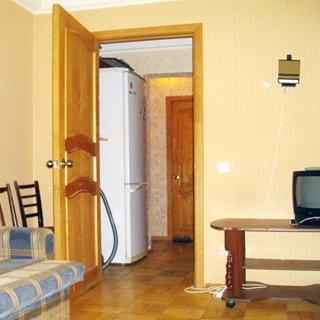 На фото: часть комнаты, выход в тамбур. В комнате: диван, журнальный столик с телевизором. В тамбуре: двухкамерный холодильник. Полы - щитовой паркет.
