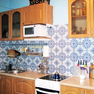 На фото: кухня, навесные шкафы и столы-тумбы, электрическая кухонная плита с духовкой, металлическая мойка со смесителем, фартук облицован керамической плиткой, микроволновая печь