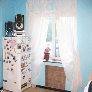 На фото: кухня, полы - плитка, двухкамерный холодильник, окно - на улицу, установлены стеклопакеты, стены - окрашены в голубой цвет