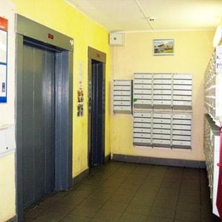 На фото: чистый светлый ,лифтовый холл, два лифта - пассажирский и грузовой, почтовые ящики, пол - керамическая плитка, стены окрашены