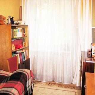 На фото: часть помещения жилой комнаты, одно окно, на окне - тюль, слева от окна у стены - диван-кровать и книжный шкаф, справа от окна - комод, на полу - ковер