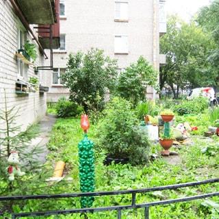 На фото: территория перед домом, ухоженный благоустроенный огороженный газон с цветником, клумбами, кустами и высаженными цветами