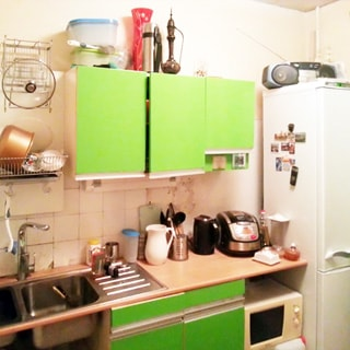 На фото: часть помещения кухни, справа-налево вдоль стены - двухкамерный холодильник, тумба-стол с зелеными фасадами, над ней - навесной кухонный шкаф, левее - металлическая мойка на два отделения со смесителем, над ней - сушка для посуды, на столе и под столом - кухонная посуда и мелкая кухонная и бытовая техника, часть фартука у мойки облицована светлой керамической плиткой
