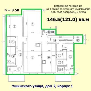 На рисунке приведен план помещений кафе. На плане: указаны номера и размеры комнат, высота потолков, общая и полезная площадь, тип, назначение и этаж помещения, этажность, год постройки, материал стен, назначение и адрес дома