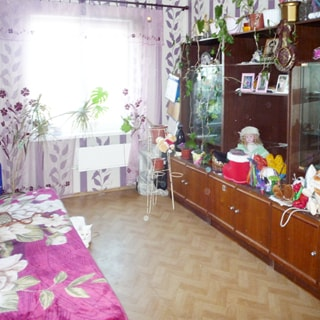 На фото: часть помещения жилой комнаты - гостиной, одно окно, под окном - батарея центрального отопления, справа у стены - мебельный гарнитур со стеклянными дверцами и полками, слева у стены - диван, стены оклеены обоями, полы - линолеум, у окна на подставках и на шкафах - комнатные растения