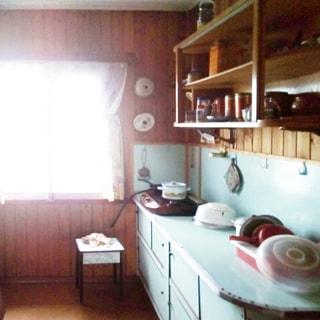 На фото: часть помещения кухни, одно окно, у окна - табурет, справа от окна вдоль правой стены - кухонный стол-тумба с общей столешницей, на столешнице ближе к окну - газовая двухкомфорочная настольная плита, над столом - навесные полки, на столе и на полках - кухонная посуда, стены отделаны вагонкой