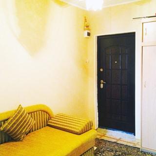 На фото: часть помещения прихожей, входная металлическая дверь, справа от двери - одежный шкаф, слева от двери у стены - мягкий диван, полы - линолеум, постелен ковер, на потолке - люстра
