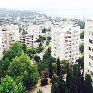 На фото: вид из окна с высоты на городские кварталы, многоэтажные жилые дома, деревья, скверы, газоны, асфальтированные проезды, на дальнем плане береговая линия моря и зеленые холмы