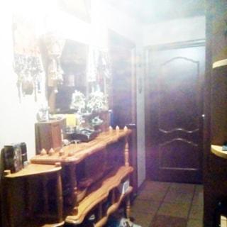 На фото: часть помещения прихожей, входная металлическая дверь в квартиру, справа от двери - шкаф, слева у стены - стеллаж под обувь, над стеллажом на стене - зеркало, полы - плитка