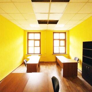 На фото: часть помещения офисного типа, два окна, офисная мебель - столы, стулья, шкаф, полы - линолеум, стены окрашены, потолки - подвесные, установлены потолочные люминесцентные офисные светильники