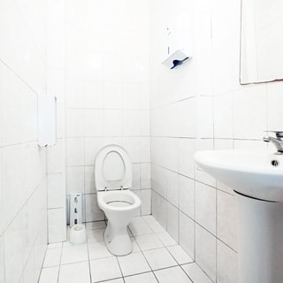 На фото: часть помещения санузла, прямо у стены установлен унитаз-компакт, слева от него на стене - лоток для туалетной бумаги, справа на стене - керамическая раковина на тумбе-ножке, на раковине установлен смеситель, над раковиной на стене - зеркало, слева от зеркала на стене - лоток для бумажных полотенец, стены в полную высоту и пол облицованы керамической плиткой