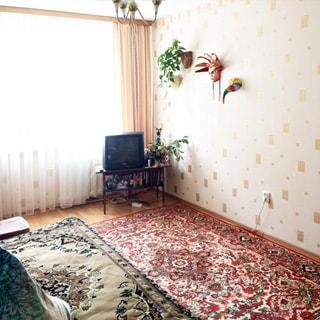 На фото: часть помещения жилой комната, одно большое окно, под окном - радиатор батареи центрального отопления, справа от окна в углу - журнальный столик с телевизором на нем, слева от окна у стены - диван, полы ламинат, на полу - ковер, стены оклеены обоями, на стене театральная маска и настенные горшки с декоративными растениями, на потолке - люстра