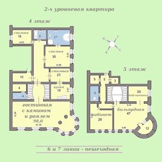 На рисунке: план первого (четвертый этаж) и второго (пятый этаж) уровня квартиры, указаны площади и наименования помещений и комнат, стороны света, место расположения 6 и 7 линий Васильевского острова